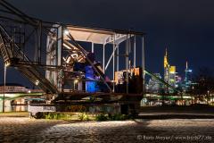 Industriedenkmal: der alte Lastkran in der Wesler Werft in Frankfurt